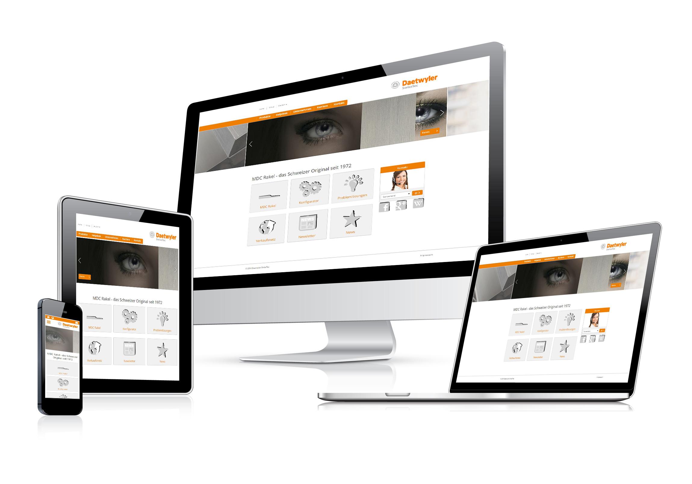 Daetwyler SwissTec Webseite im responsive Design